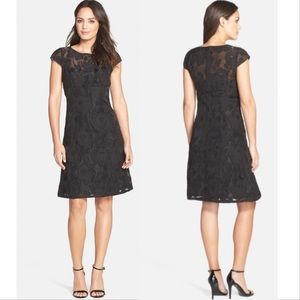 Adrianna Papell Black Burnout Lace Fit flare 16